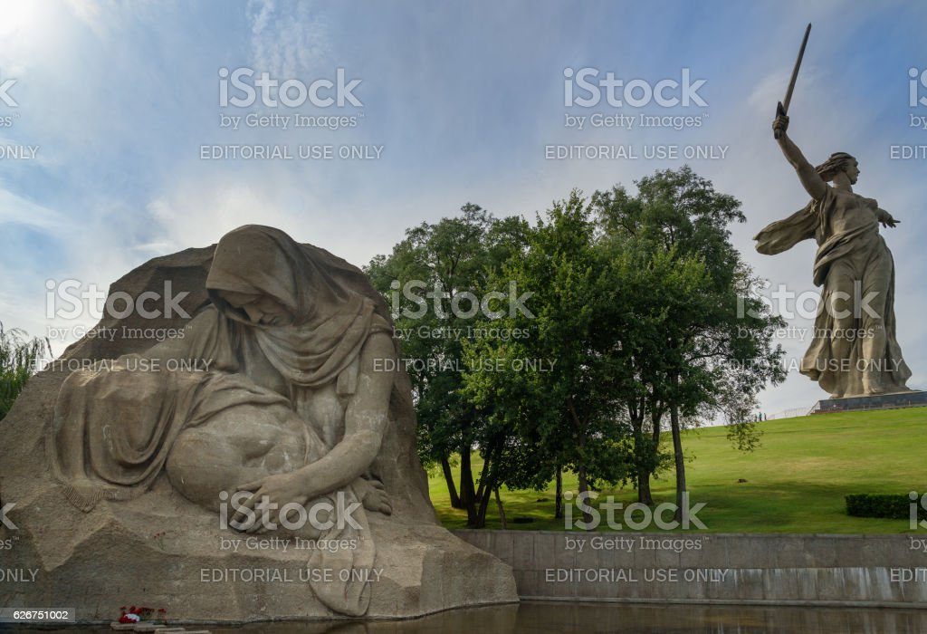 Square of Sorrow. Memorial complex Mamayev Kurgan in Volgograd stock photo