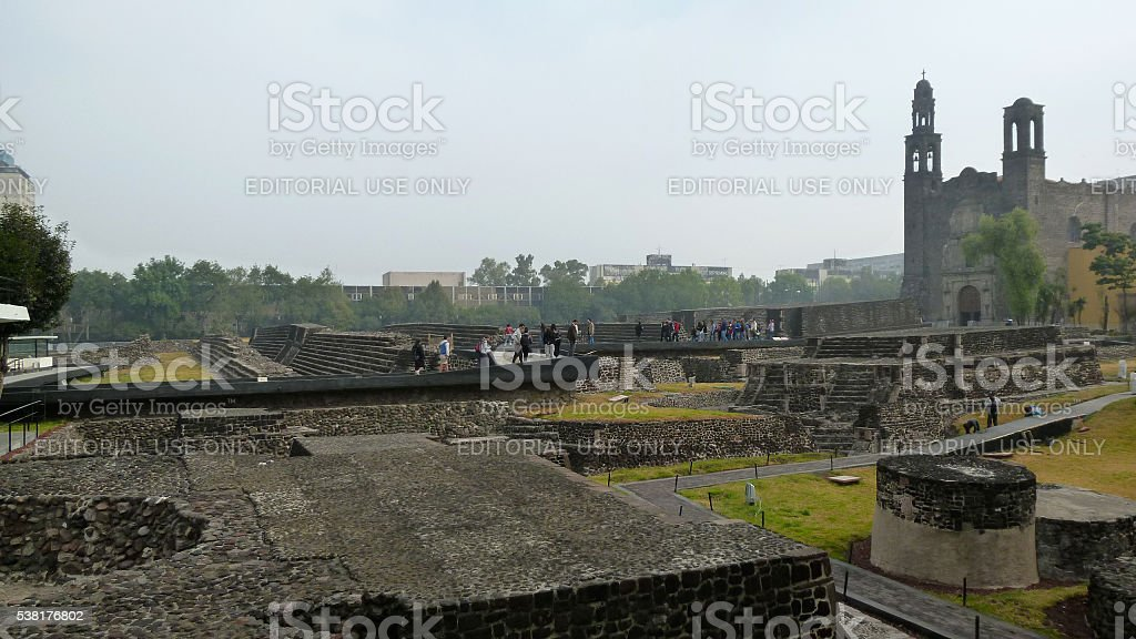 Square of the Three Cultures in Mexico City stock photo