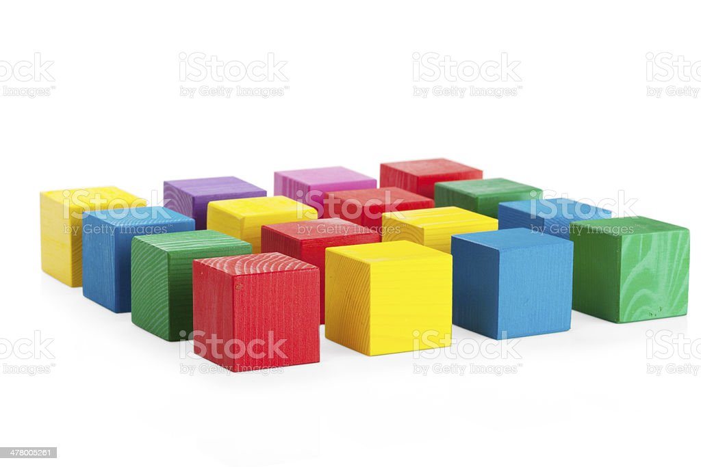 4*4 square of wooden toy cubes isolated on white background stock photo