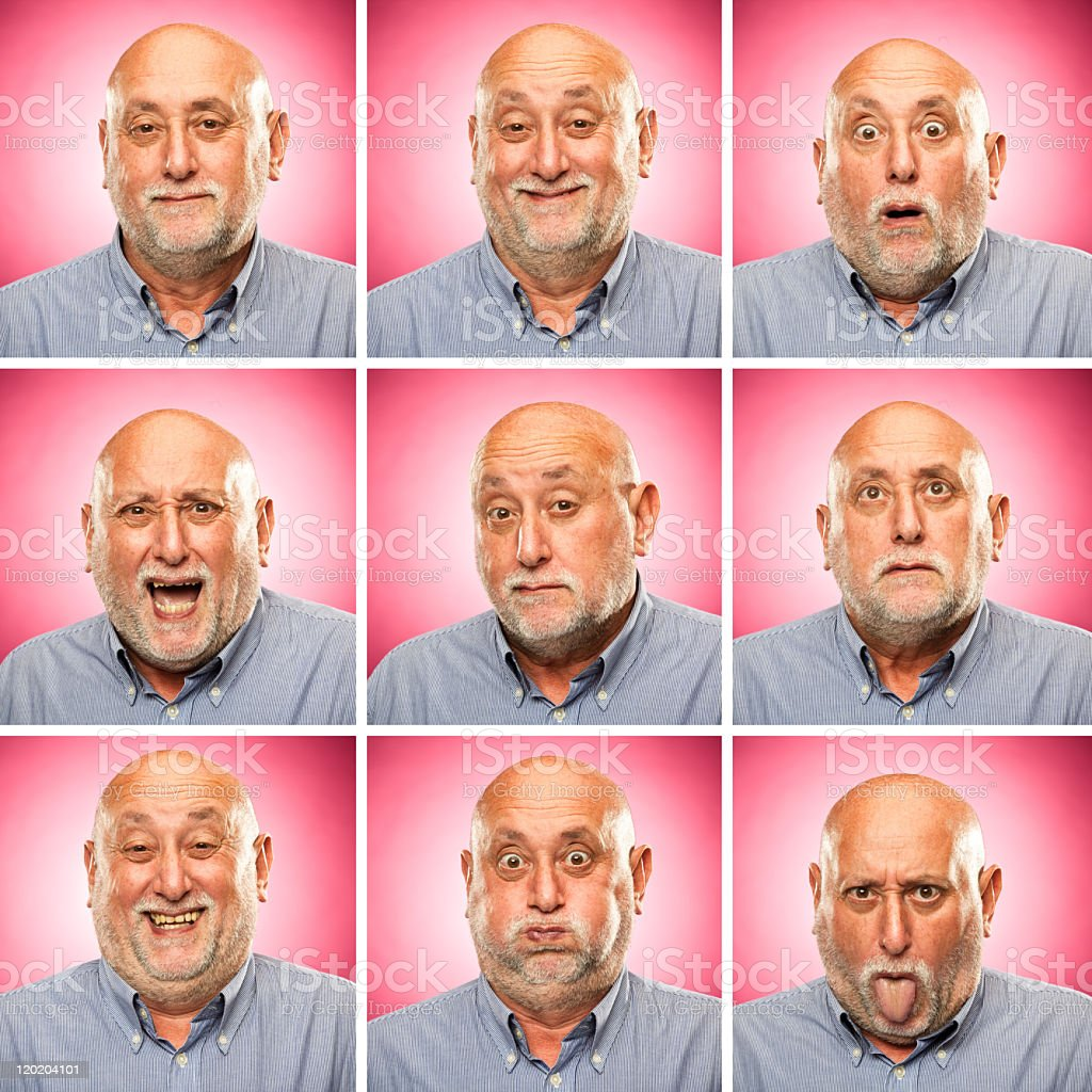 square old man emotion expressions set pink background royalty-free stock photo