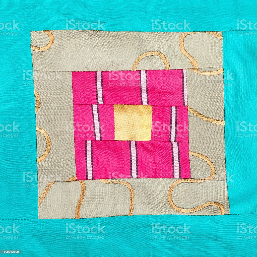 square ornament of patchwork cloth stock photo