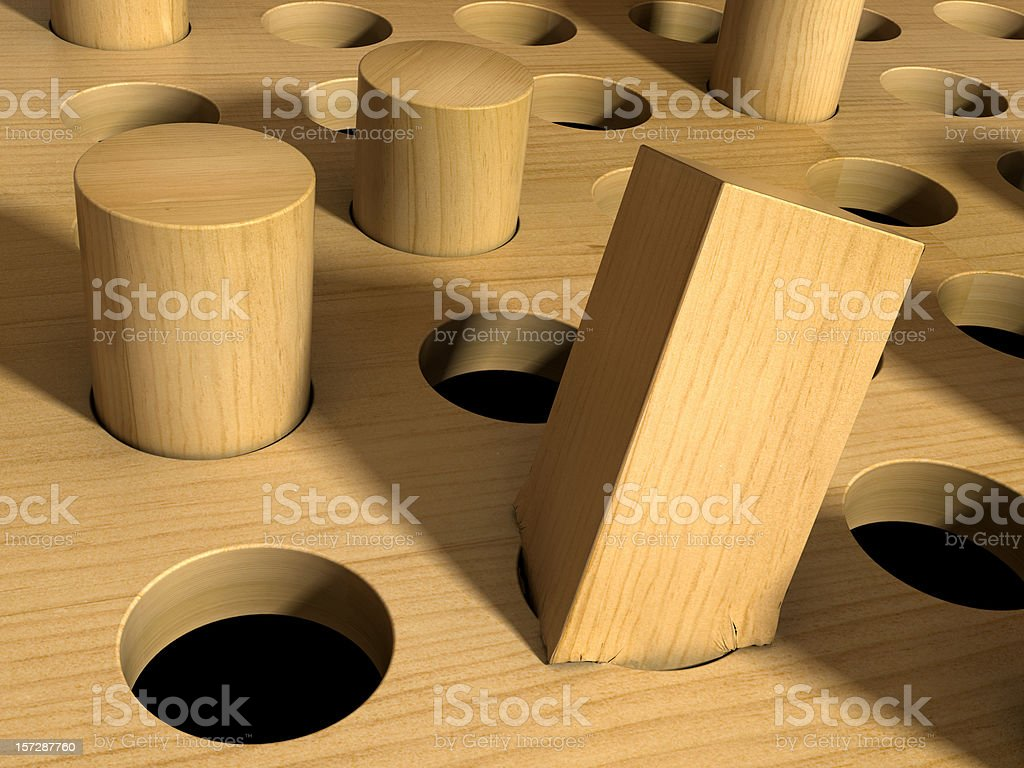 Square Peg in a Round Hole stock photo