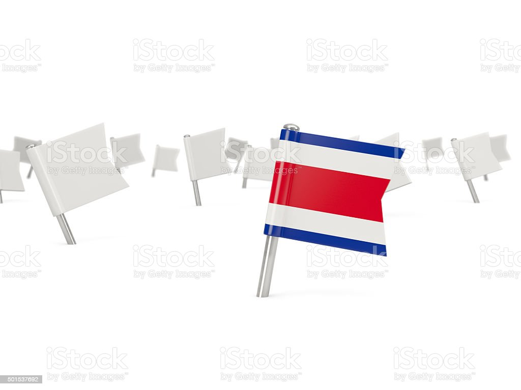 Square pin with flag of costa rica stock photo