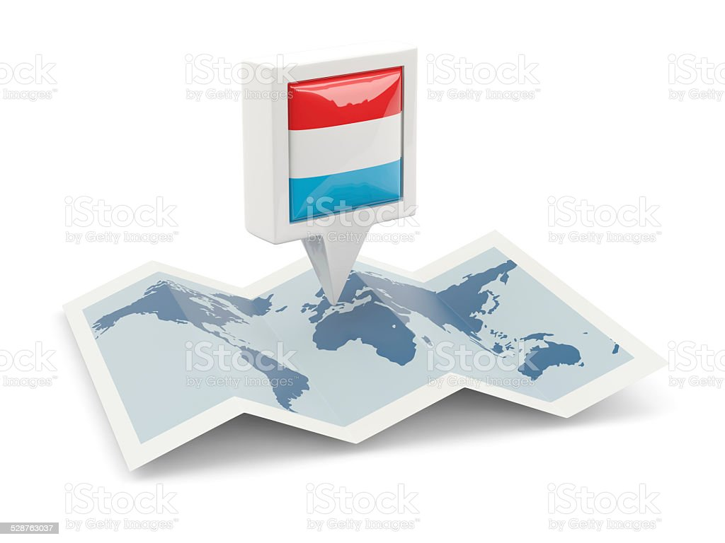 Square pin with flag of luxembourg on the map stock photo