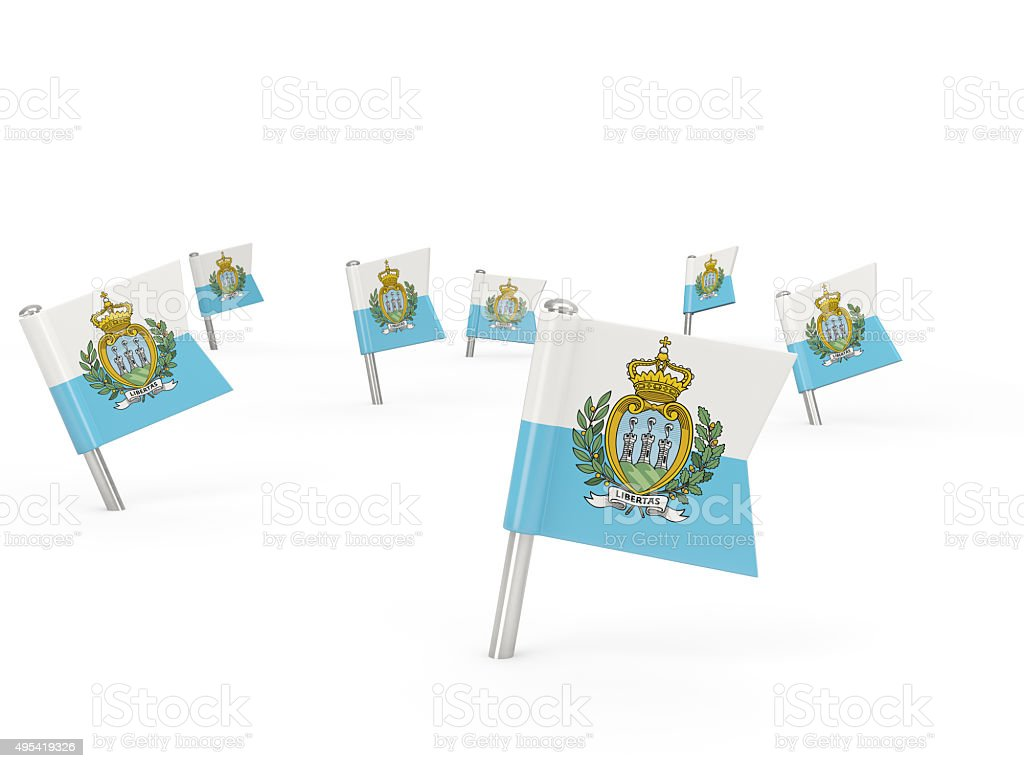 Square pins with flag of san marino stock photo