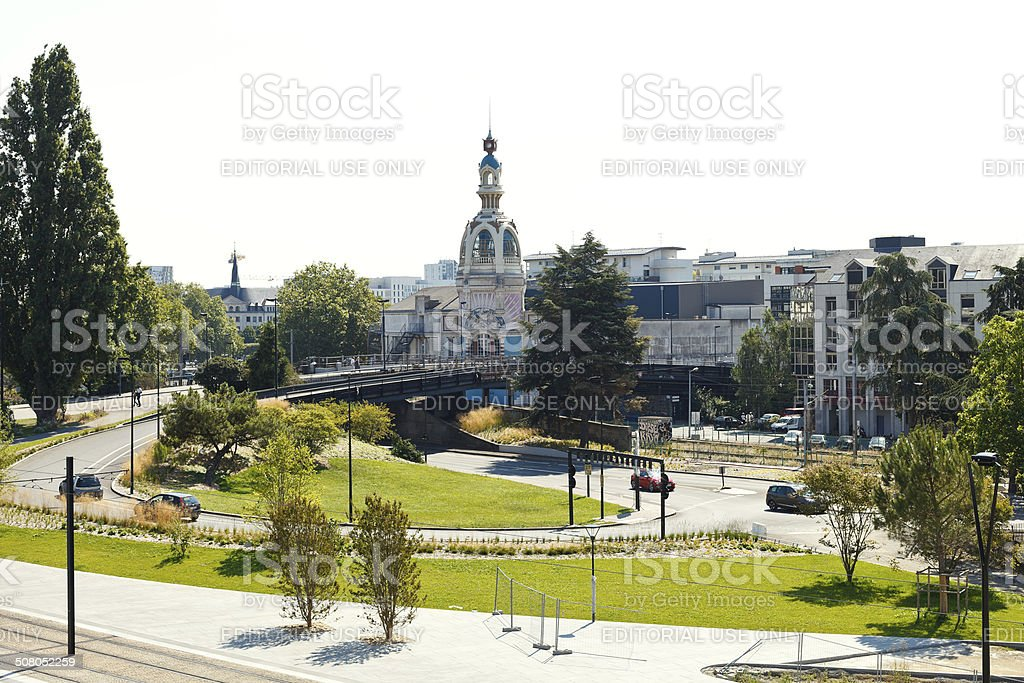 square Place de la Duchesse Anne in Nantes, France stock photo
