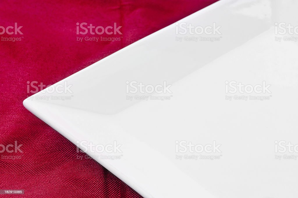 Square Plate and Red Tablecloth stock photo