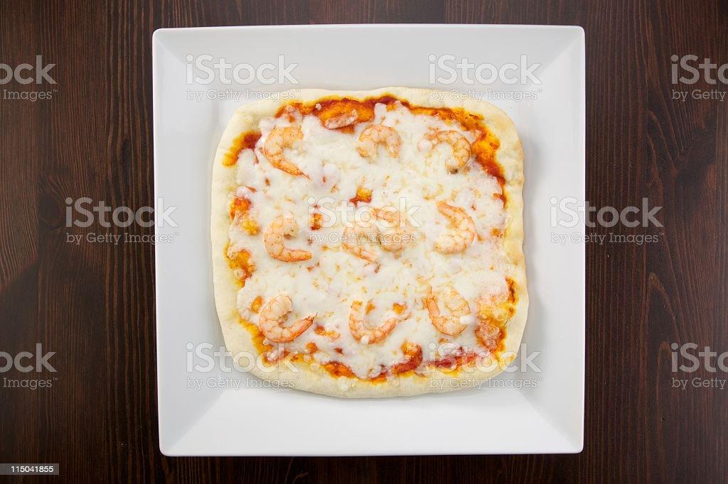 square prawn pizza stock photo