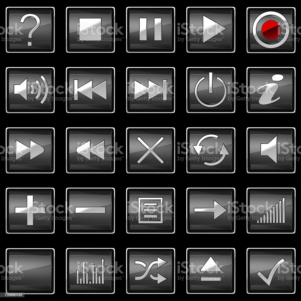Square pressed Control panel buttons stock photo