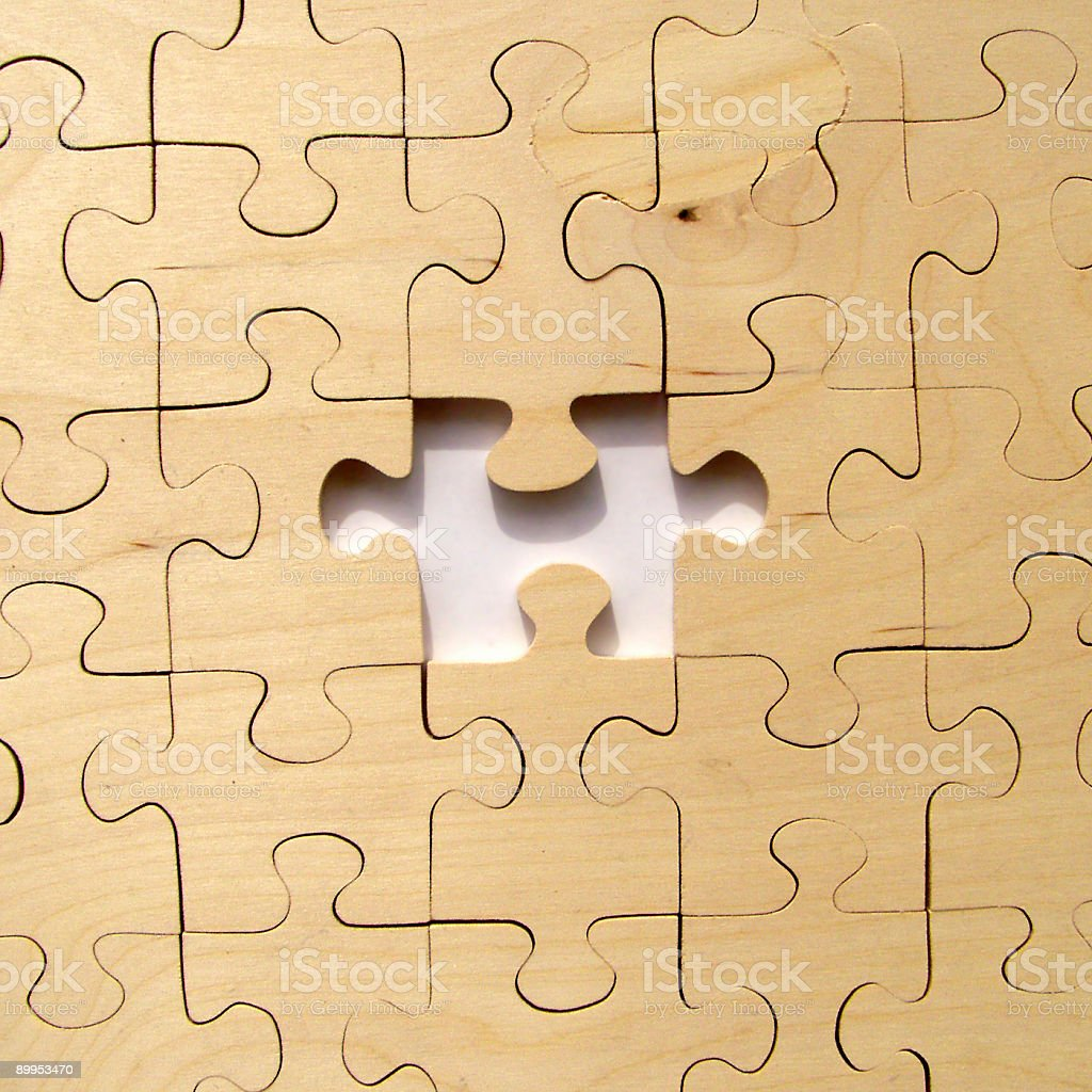 Square puzzle - missing piece royalty-free stock photo