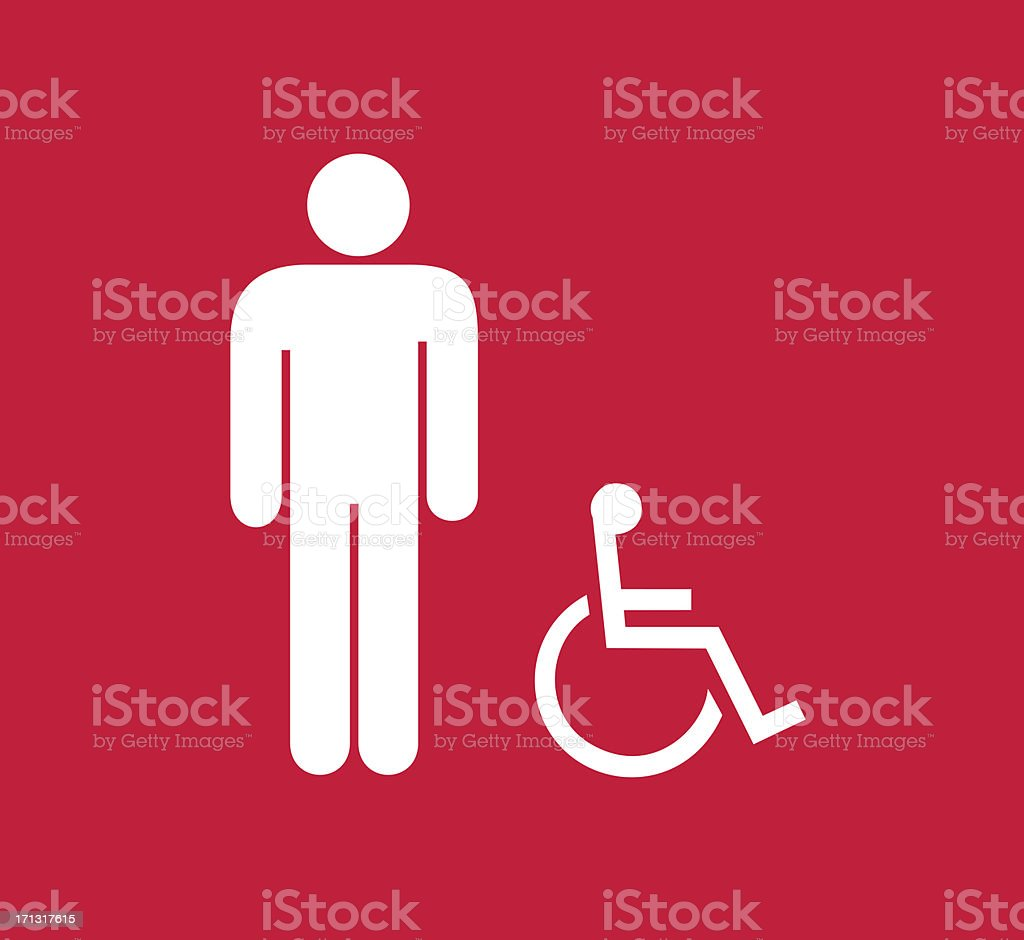 Square red and wite male and disbled person restroom sign royalty-free stock photo