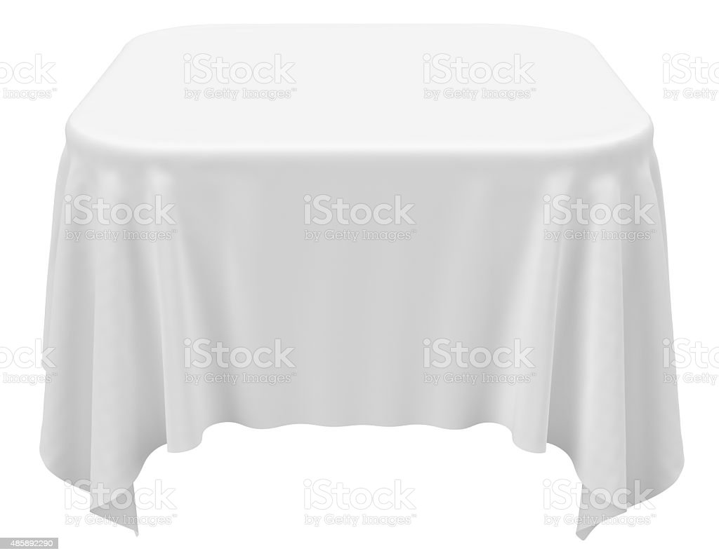 Square rounded tablecloth stock photo