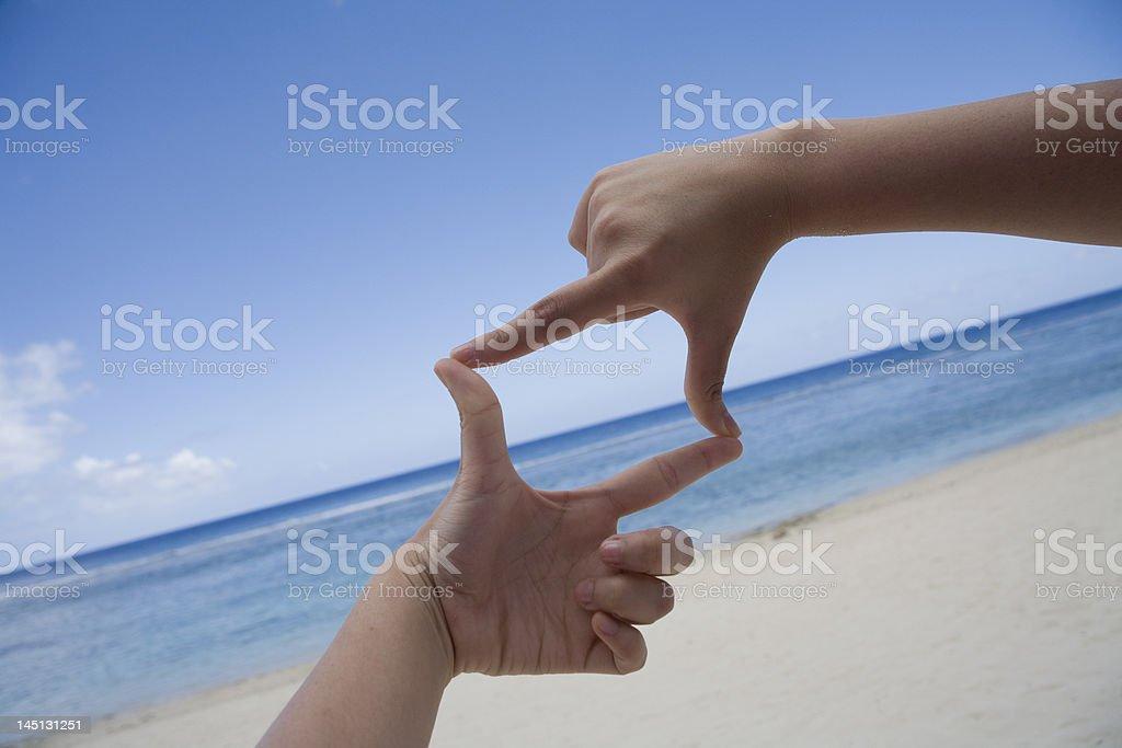 Square shaped hand framing royalty-free stock photo