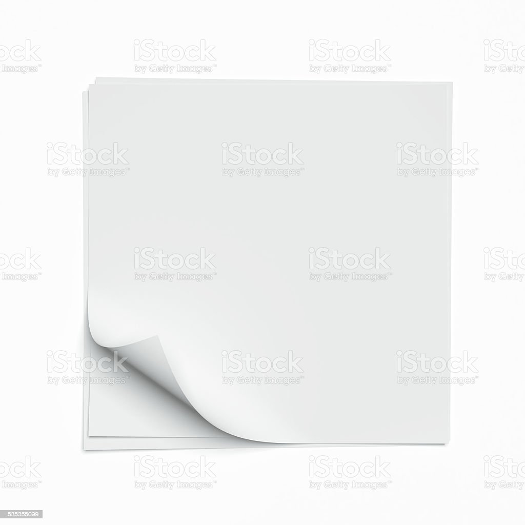 Square sheet with curled corners stock photo