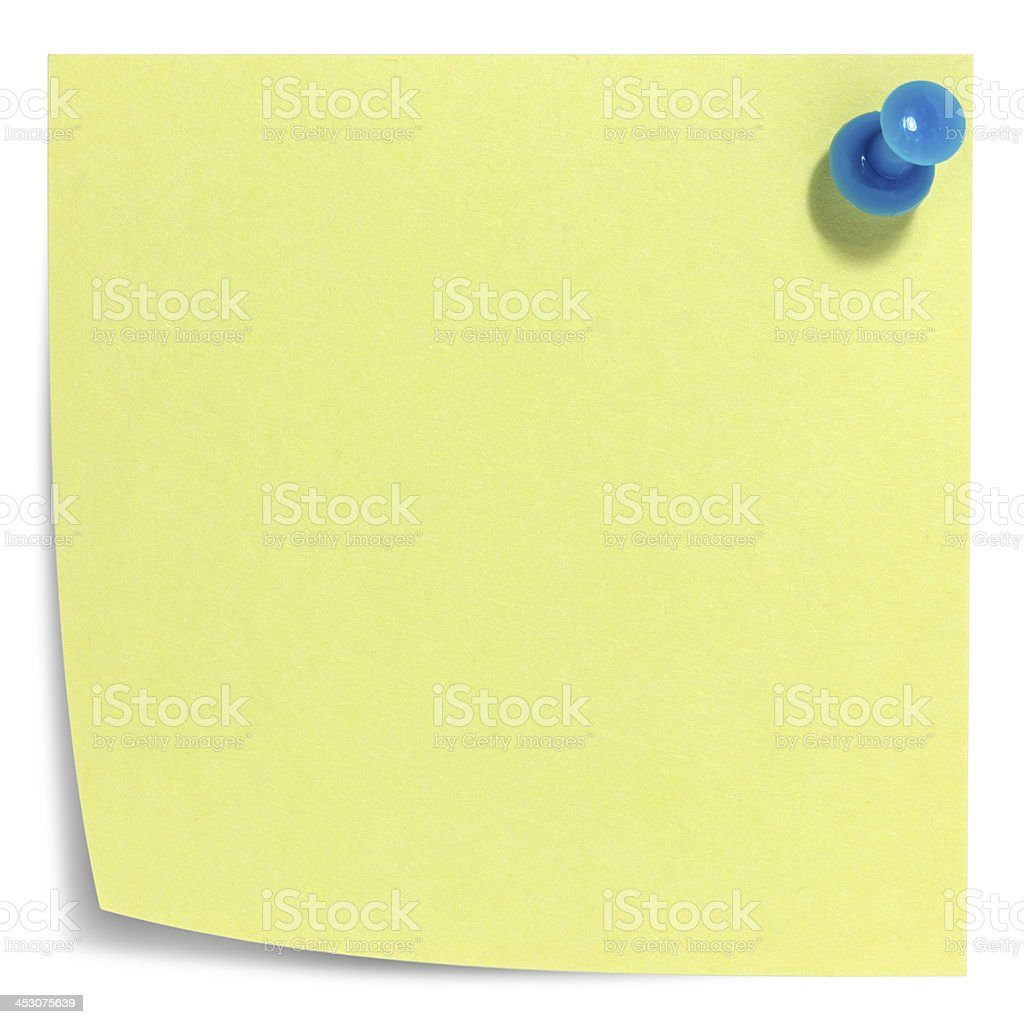 Square sticky note, blue pin, and shadow stock photo