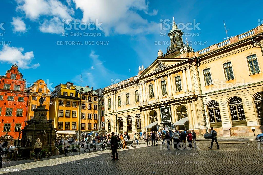 Square Stortorget in Gamla Stan in Stockholm.Sweden. stock photo