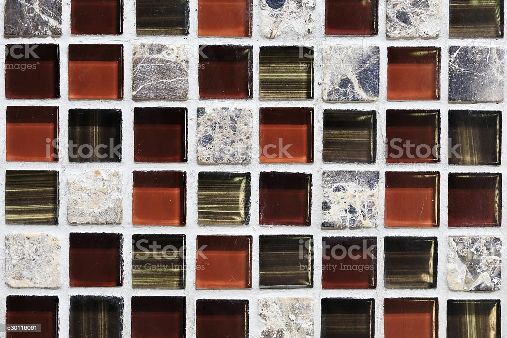square tile ornamental wall and floor in bathroom stock photo
