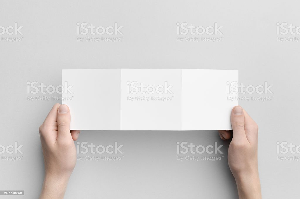 Square Tri-Fold Brochure Mock-Up stock photo