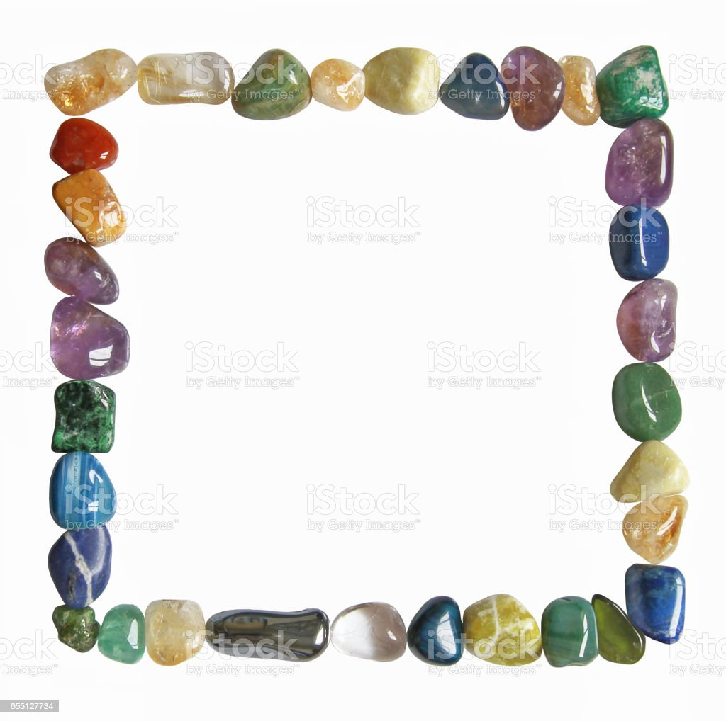 Square Tumbled Healing Crystal Border stock photo