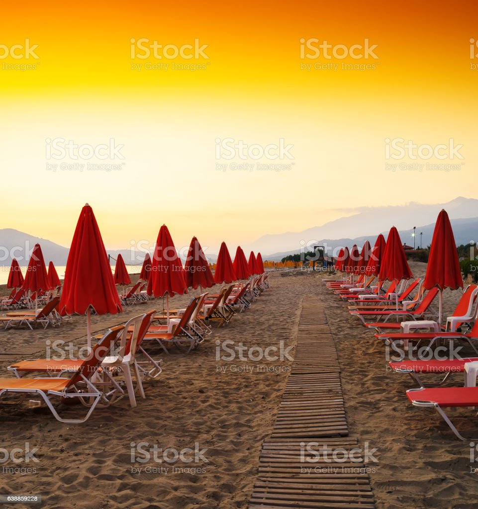 Square vibrant beach umbrellas travel vacation background backdr stock photo