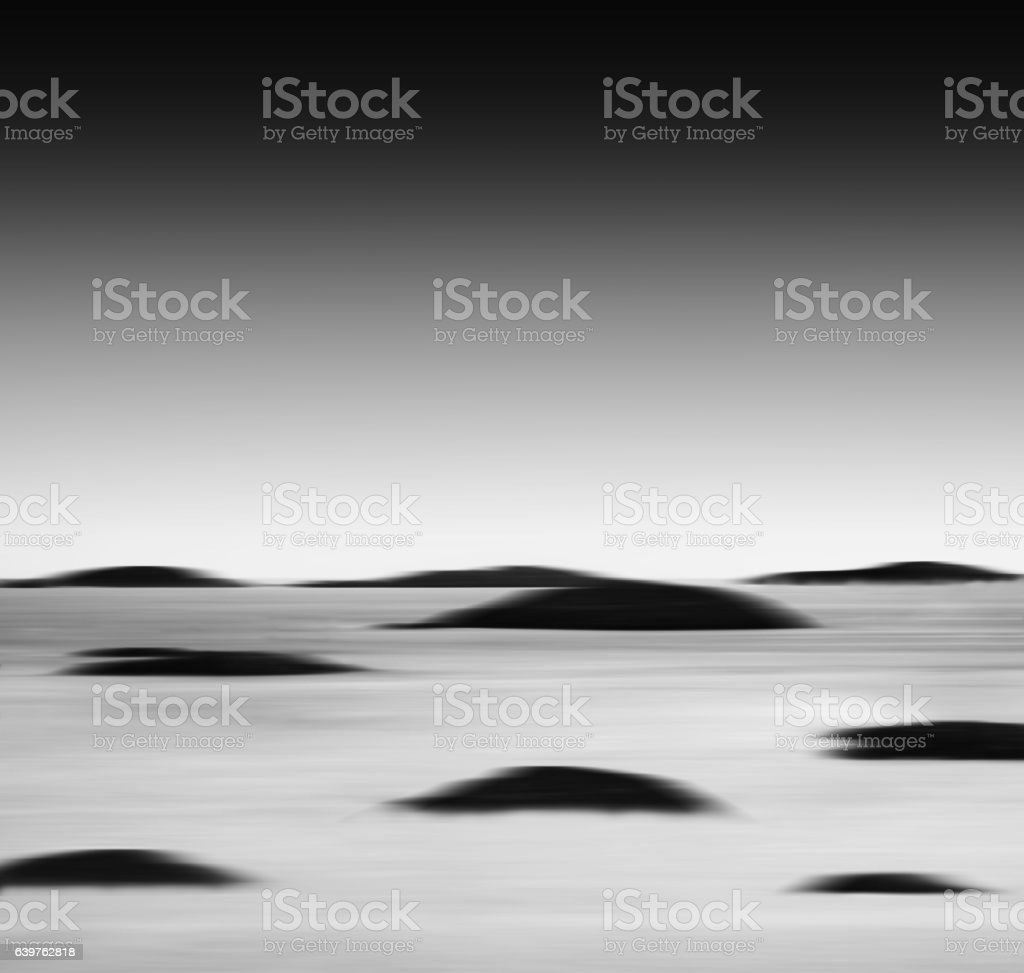Square vibrant black and white ocean landscape islands abstracti stock photo