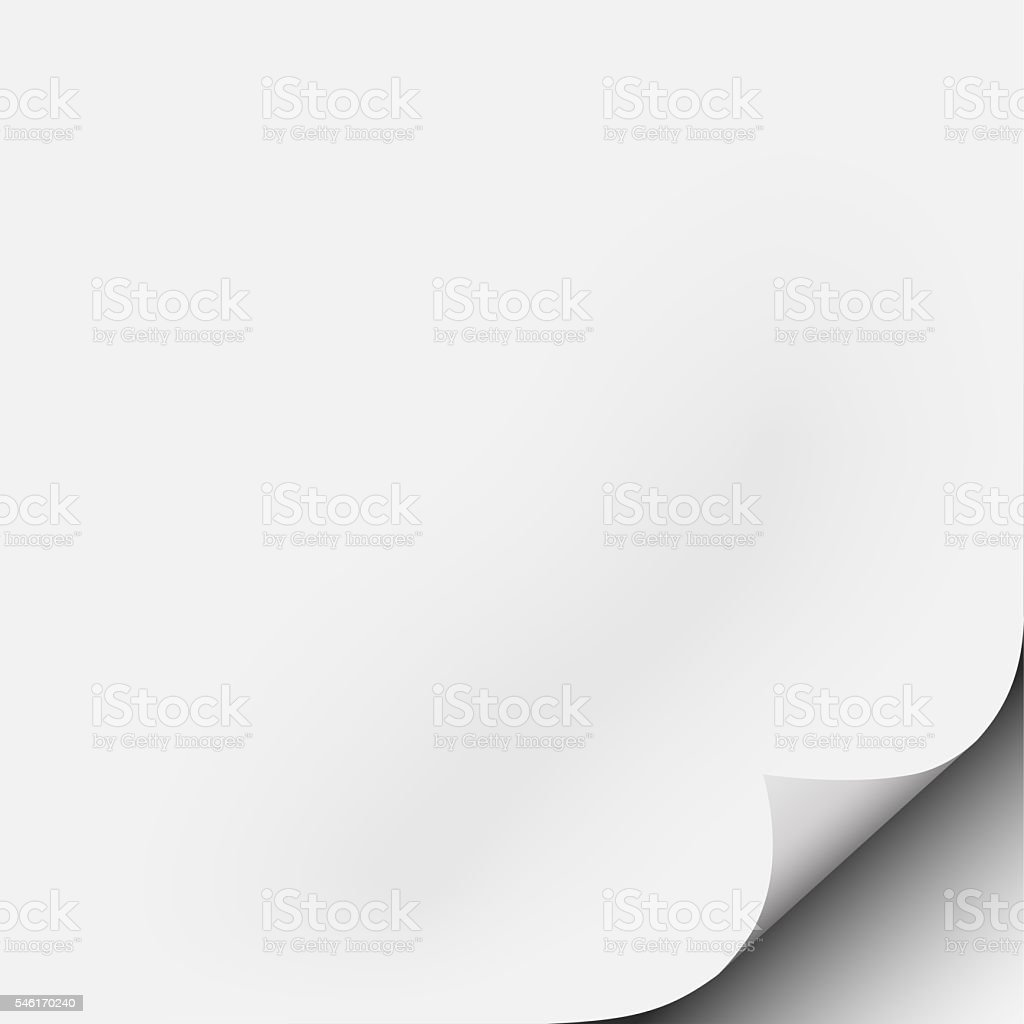 Square white piece of paper with corner fold, curl stock photo