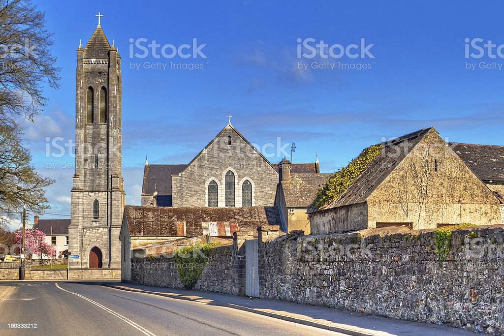 Square with church in Portumna town royalty-free stock photo