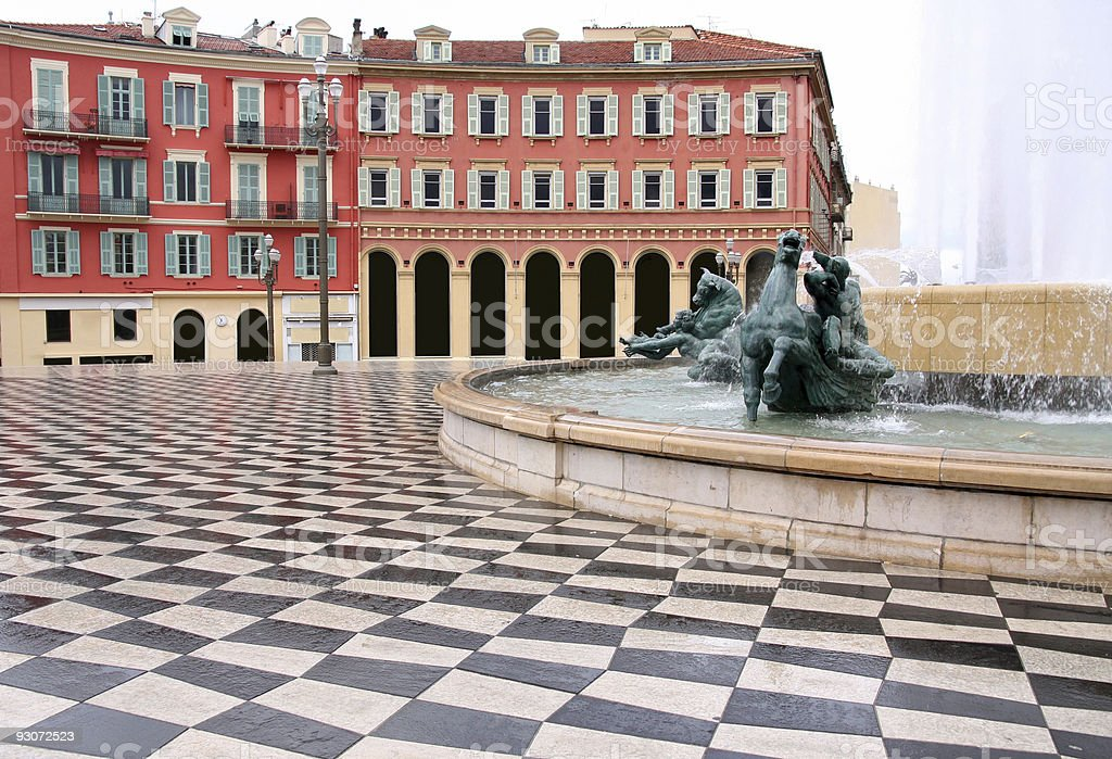 Square with fountain in the city of Nice in France royalty-free stock photo