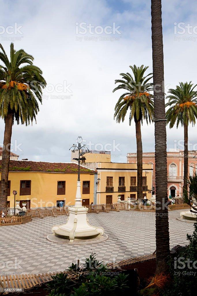 Square with palm trees in La Orotava. stock photo
