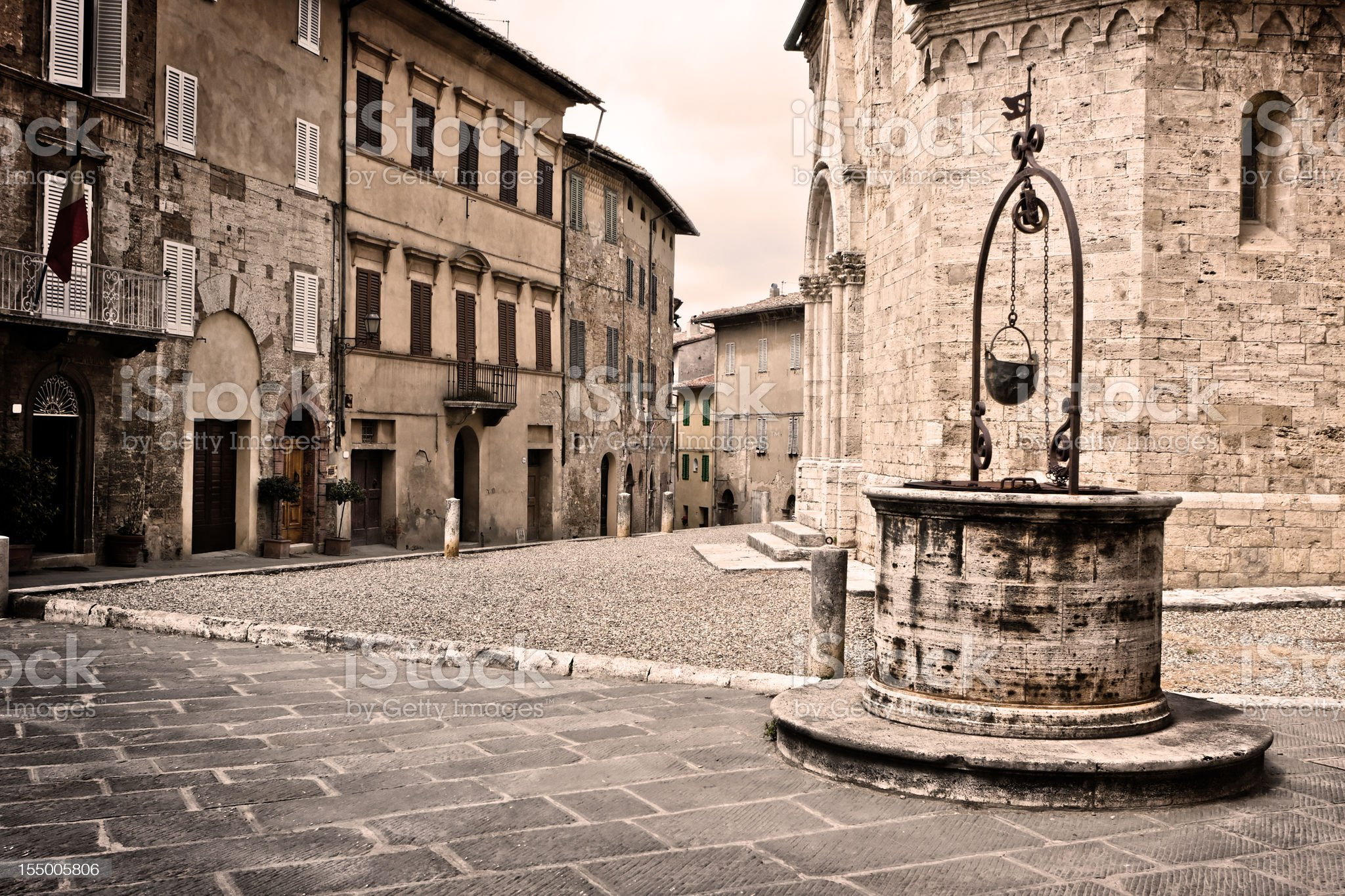 Square with Pit in San Quirico, Village of Val d'Orcia royalty-free stock photo