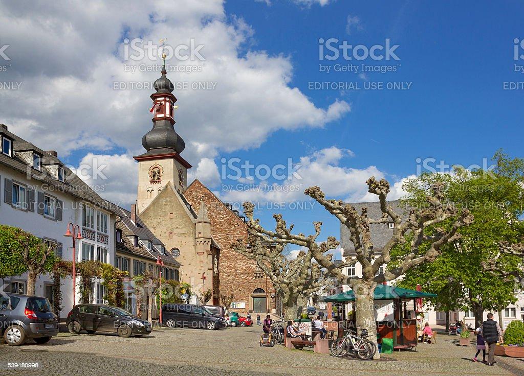 Square with Saint James's Church in Ruedesheim am Rhein, Germany stock photo