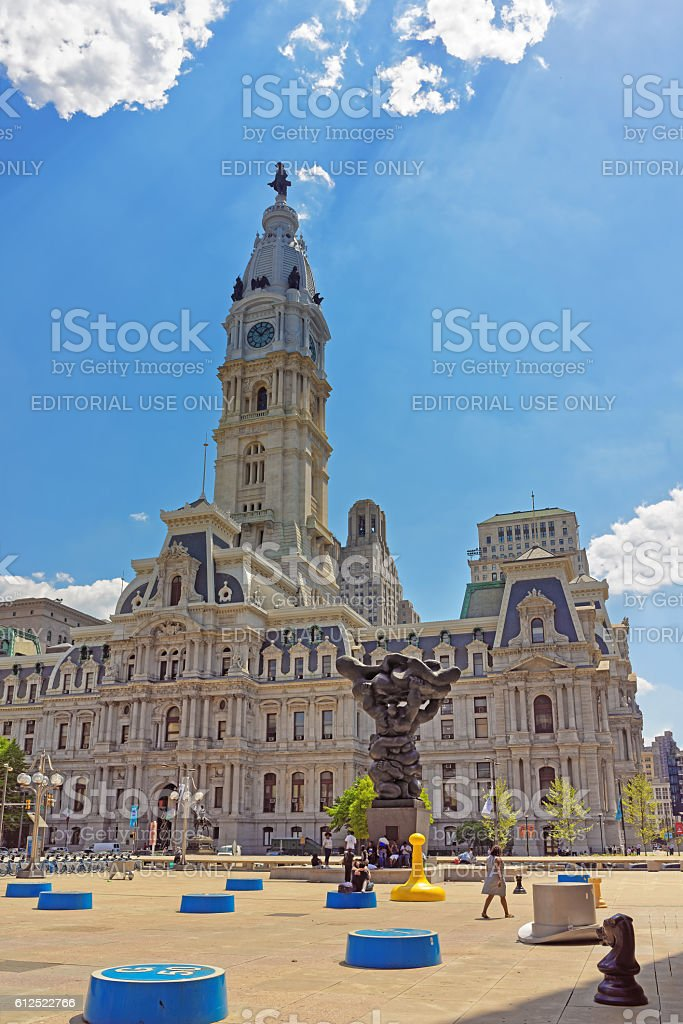 Square with the sculptures and Philadelphia City Hall stock photo