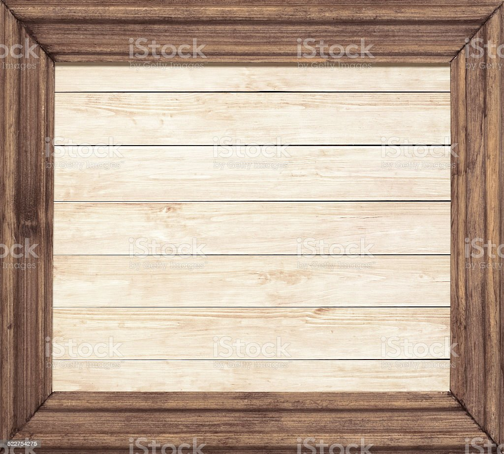Square wooden frame on wood background stock photo