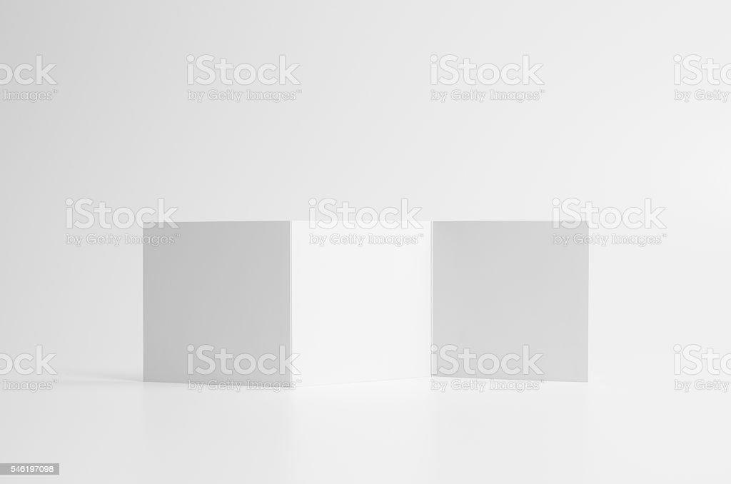 Square Z-Fold / Fan Fold Brochure Mock-Up. Seamless Background stock photo
