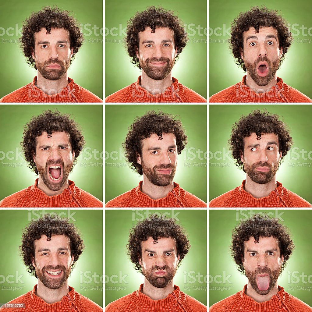 squared casual caucasian man with curly hair expression collection royalty-free stock photo
