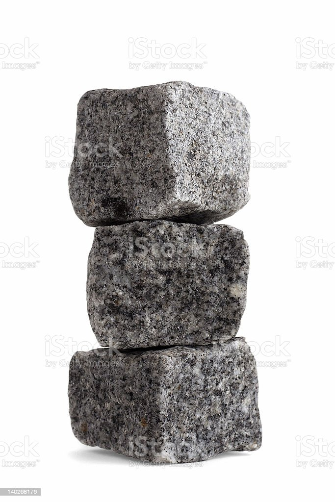 Squared off rocks in stack, isolated royalty-free stock photo