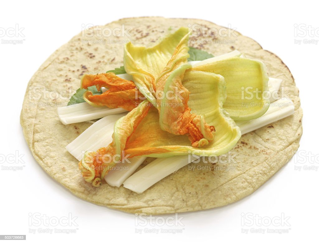 squash blossom quesadillas, Mexican food royalty-free stock photo