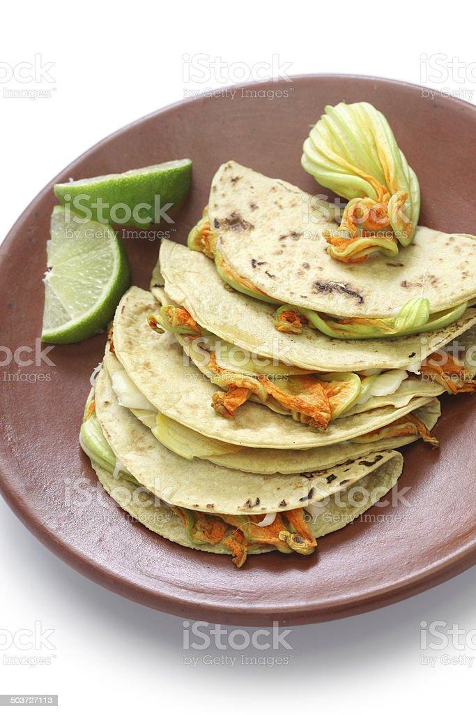 squash blossom quesadillas, Mexican food royalty-free stock photo