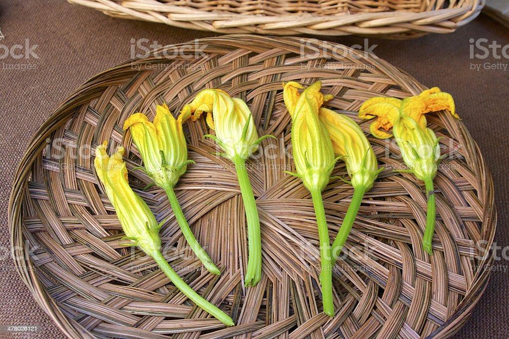 Squash blossoms stock photo