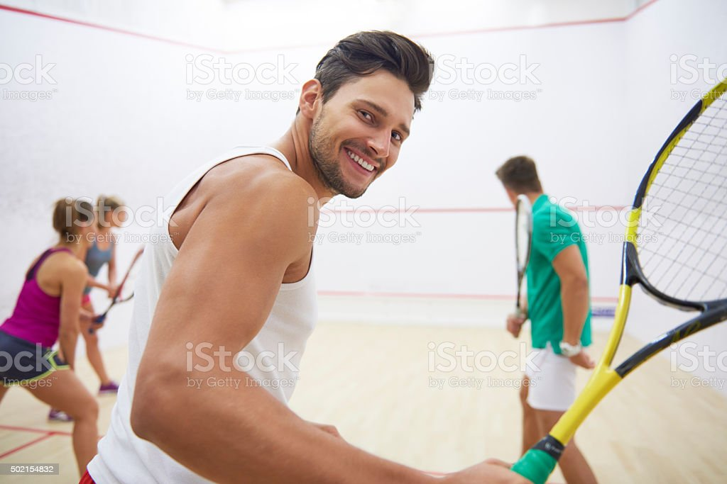 Squash game can give a lot of satisfaction stock photo