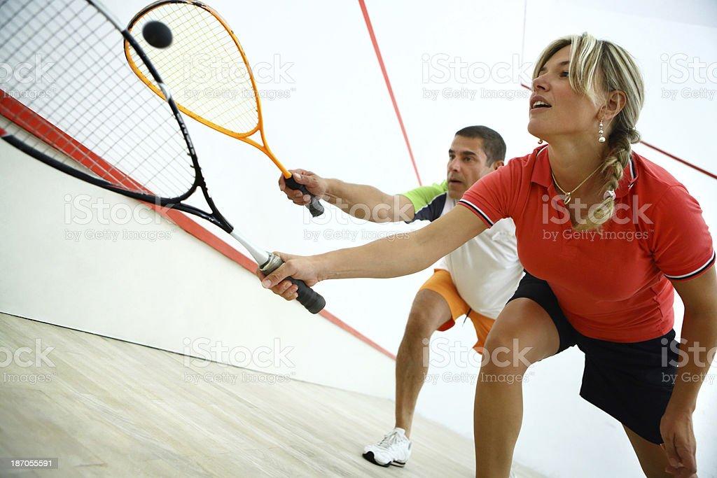 Squash game. stock photo