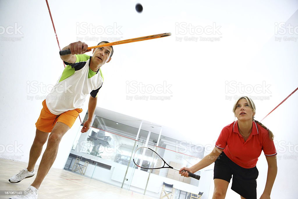Squash game. stock photo