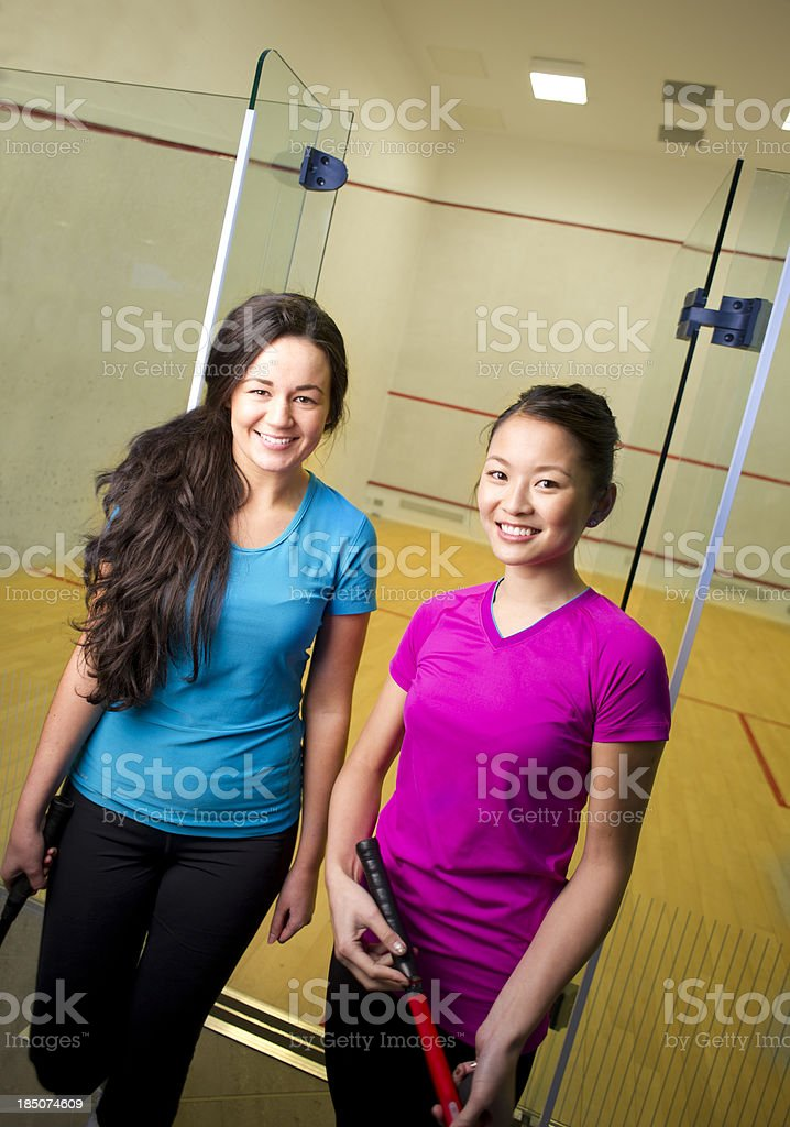 squash girls stock photo