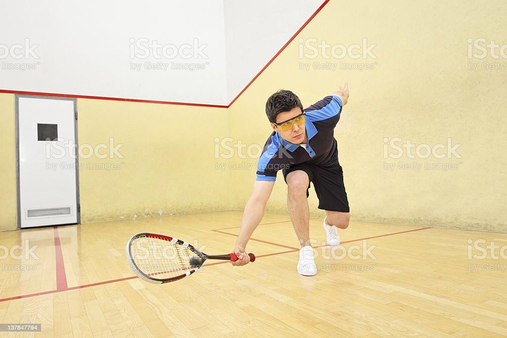 Squash player hitting a ball stock photo
