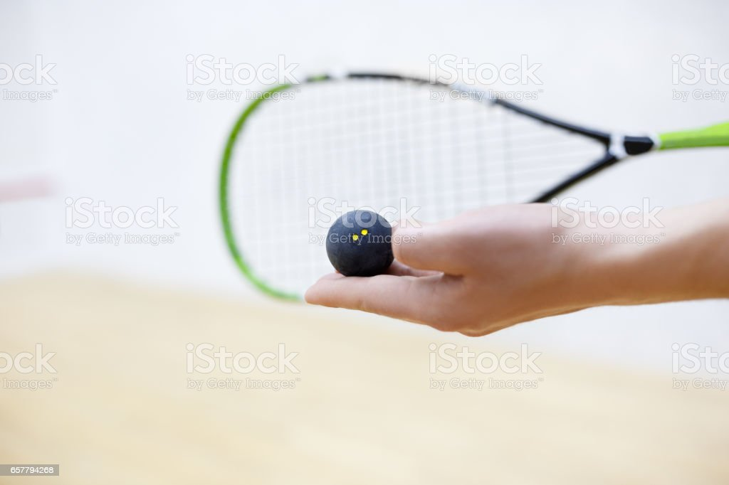 squash racket and ball in hands stock photo
