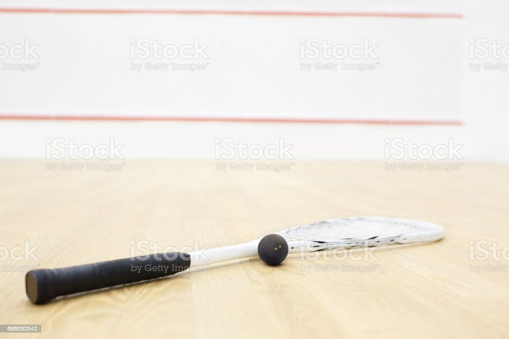 squash racket and ball stock photo