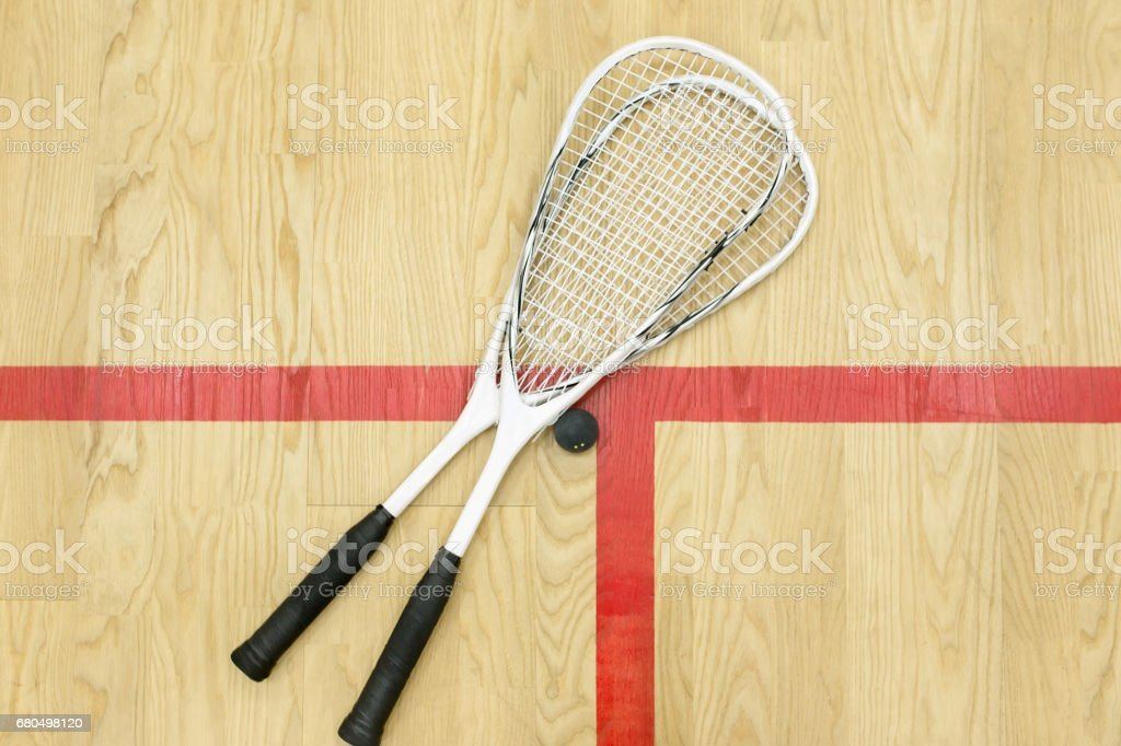 squash rackets and ball top view stock photo
