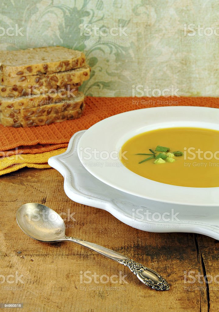 Squash Soup and Bread stock photo