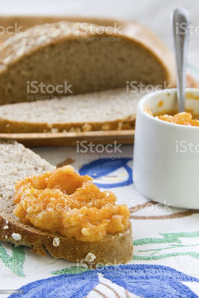 squash spread over the in-house bread royalty-free stock photo