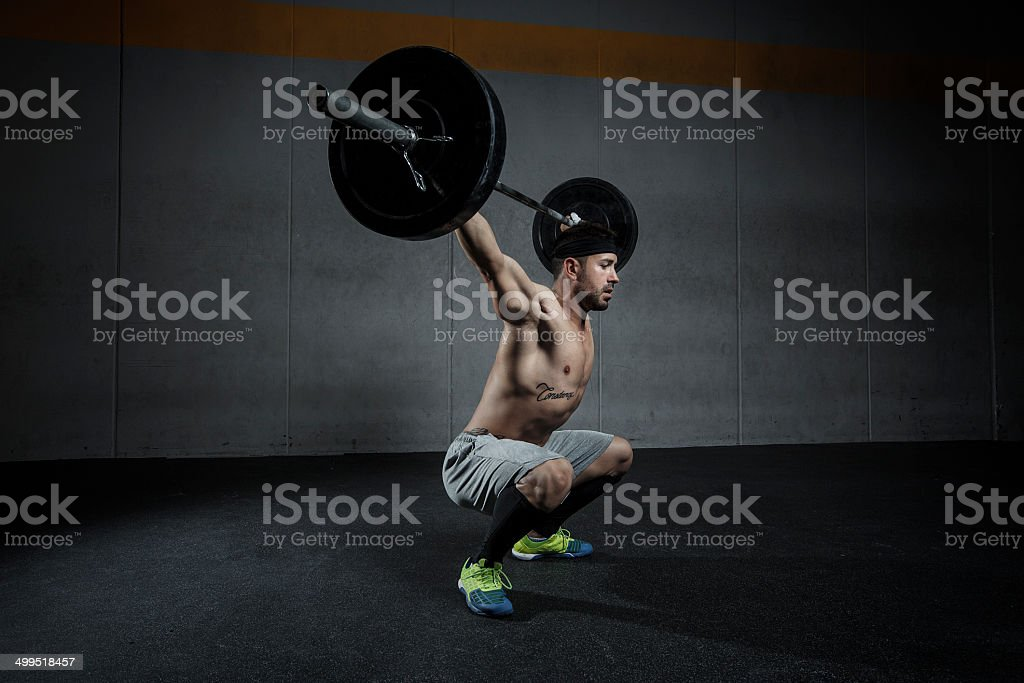 squat snatch stock photo